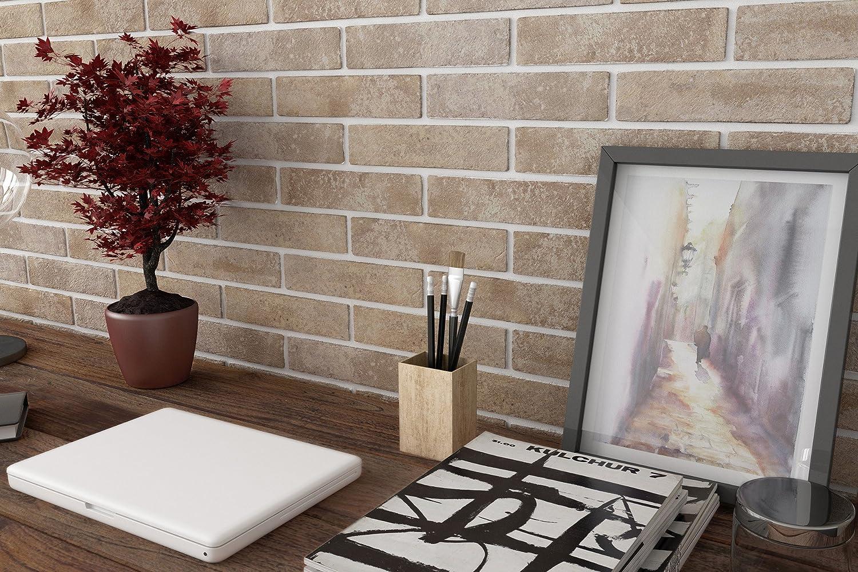 Wandverkleidung Wandfliesen Verblender Wand-Dekoration Wei/ß Klinker