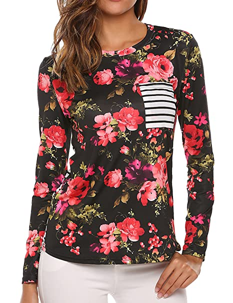 778ae195425ac7 Zeagoo Women's Long Sleeve Floral Print Tops Tee Striped T-Shirt with  Pocket Black S