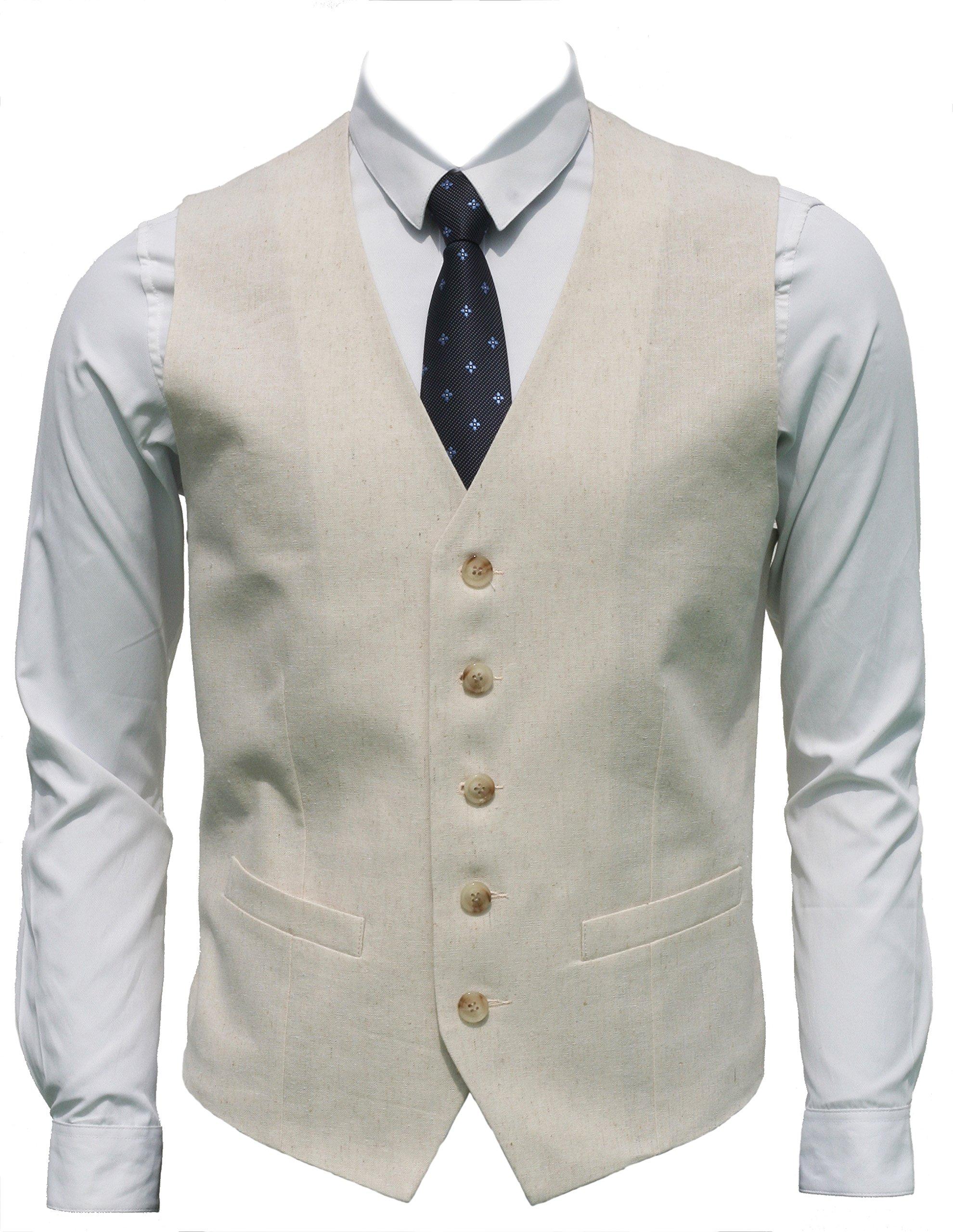 Ruth&Boaz Men's Linen Blend 2Pockets 5Buttons Summer Vest (XXXXL, Natural Linen)