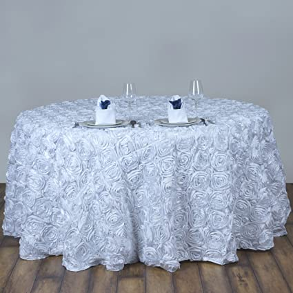 BalsaCircle 120u0026quot; White Satin Raised Rosettes Round Tablecloth Wedding  Party Dining Room Table Linens