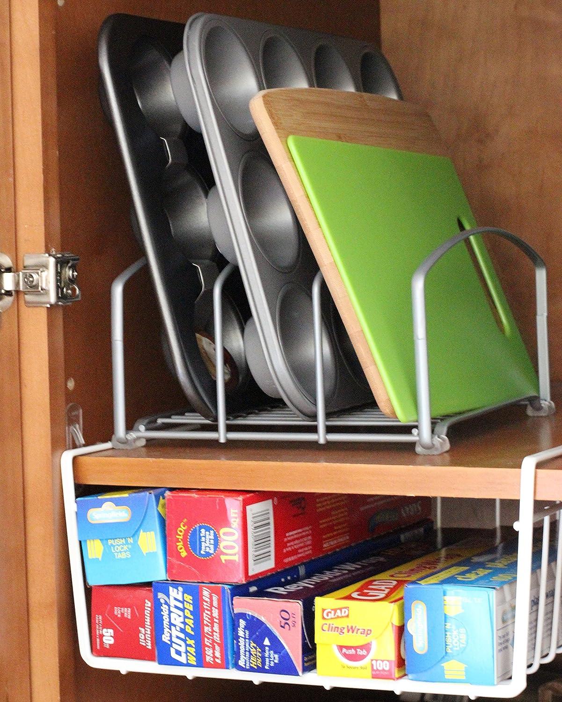 Amazon.com   DecoBros Under Shelf Basket Wrap Rack, White   Cabinet  Organizers