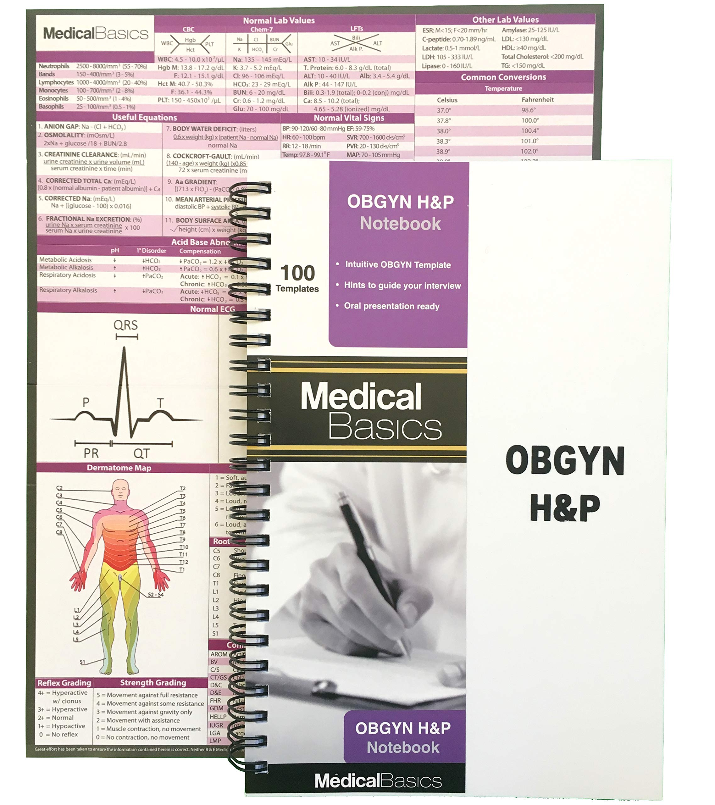 OBGYN H&P Notebook Medical History and Physical Notebook, 100 Medical templates with Perforations by Medical Basics