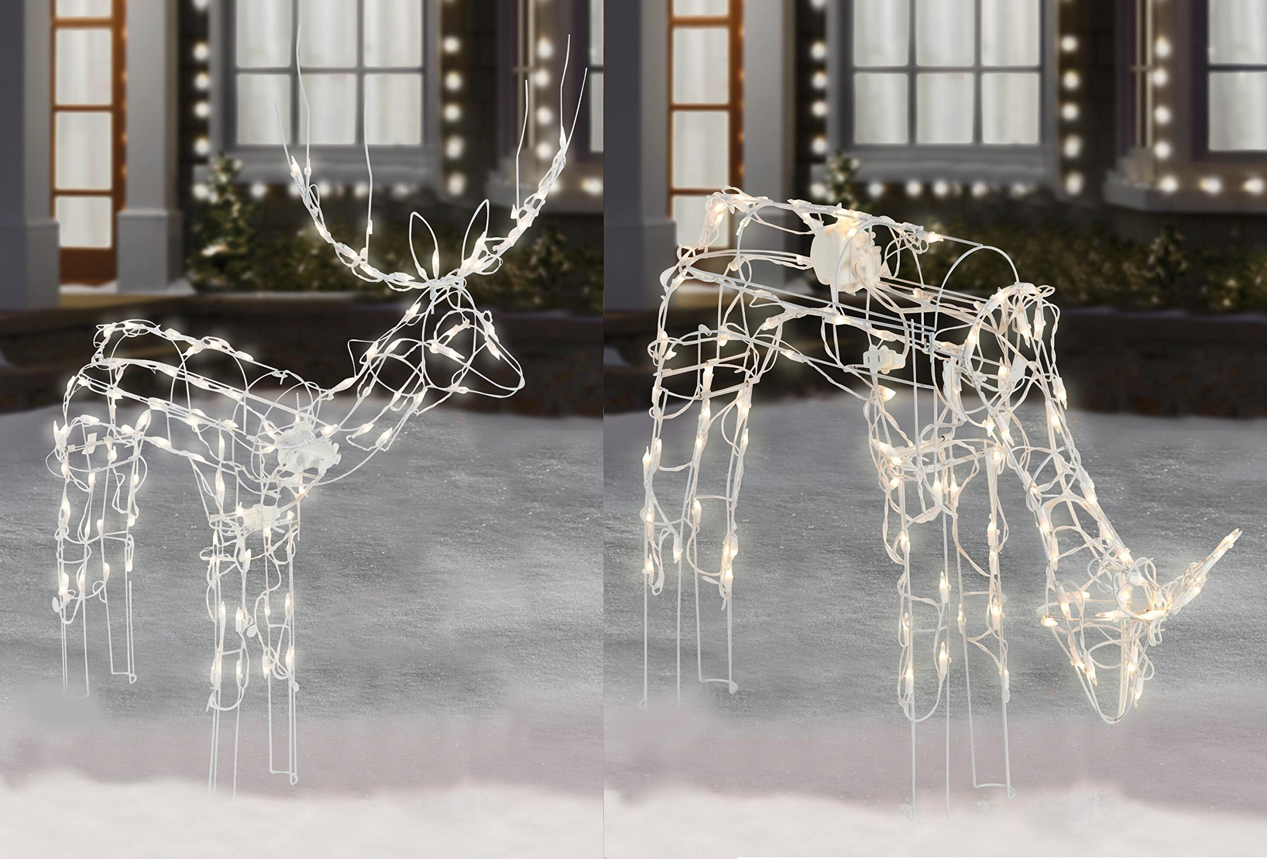 2-Piece Lighted Animated Holiday Deer Family - 48'' Animated Buck and 42'' Animated Doe - 210 Clear Lights by Winter Wonder Lane (Image #1)