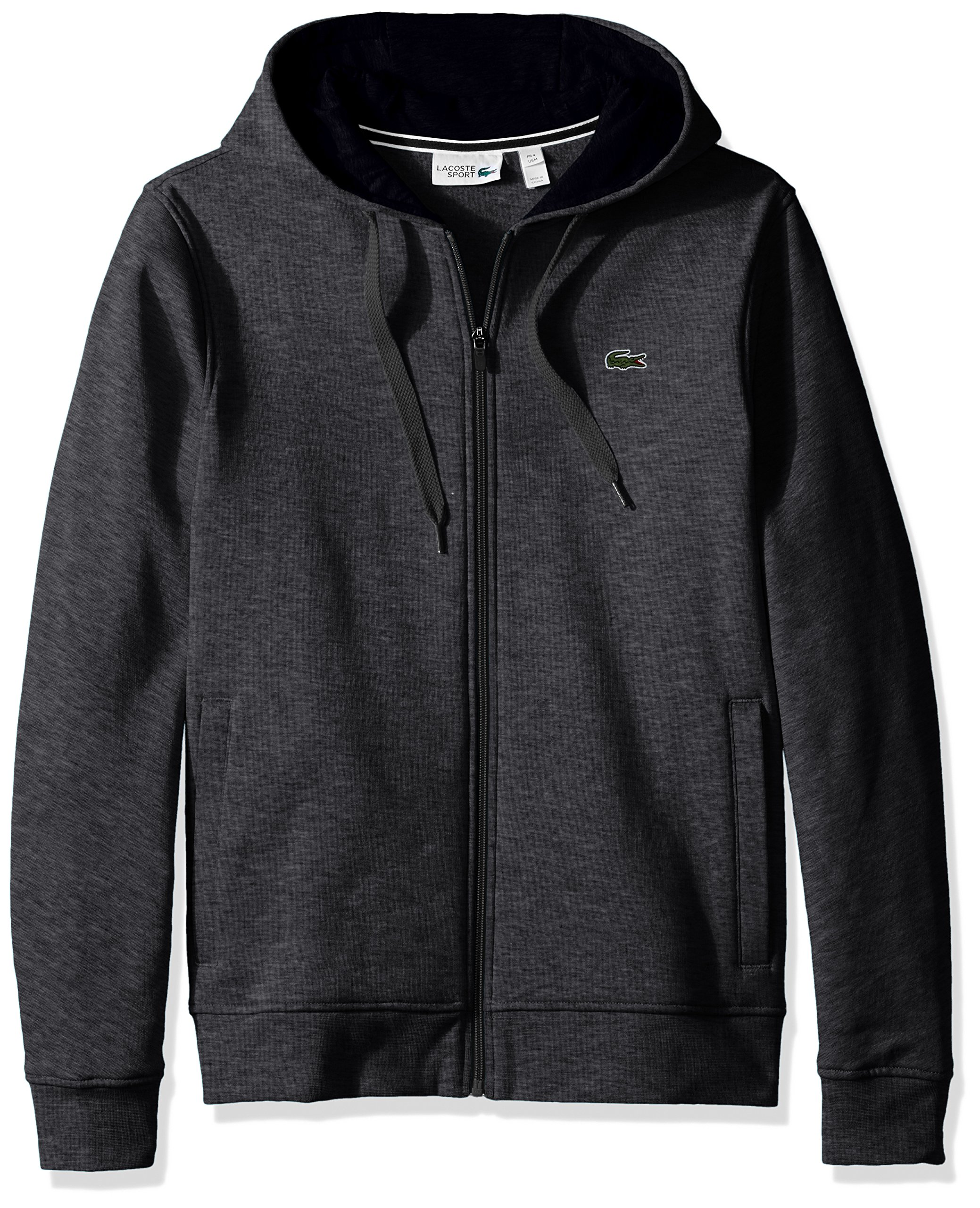 Lacoste Men's Full Zip Hoodie Fleece Sweatshirt, Pitch/Navy Blue, Small