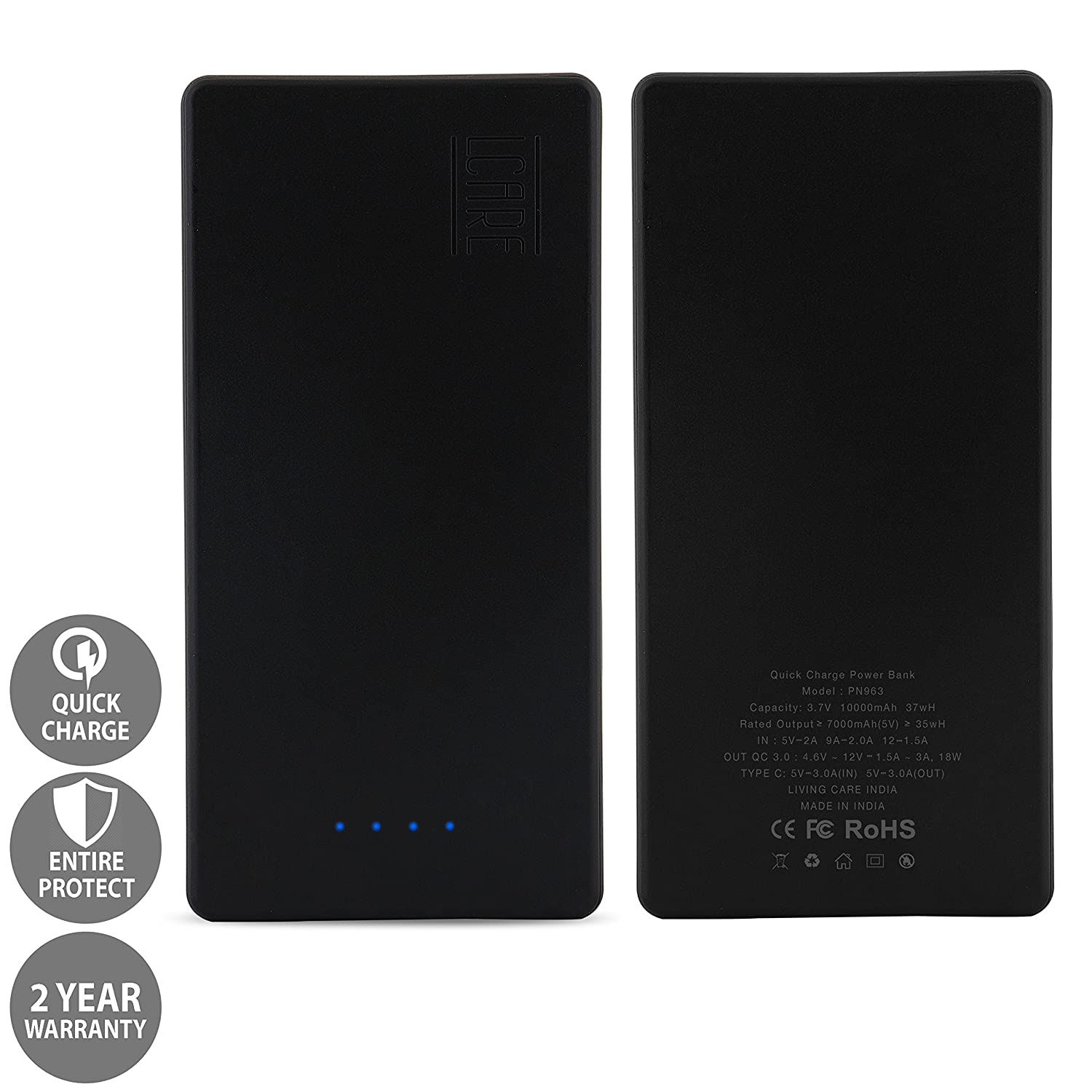 LCARE QC 30 POWER BANK 10000mAh with