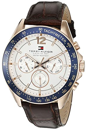 b224afbb Image Unavailable. Image not available for. Color: Tommy Hilfiger Men's  1791118 Sophisticated Sport Watch with Brown Leather Band
