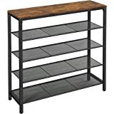 VASAGLE Shoe Rack, 5-Tier Shoe Storage Organizer with 4 Metal Mesh Shelves for 16-20 Pairs and Large Surface for Bags, for En