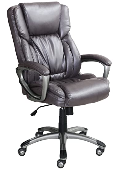 Serta Works Executive Office Chair, Bonded Leather, Gray