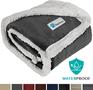 PetAmi Waterproof Dog Blanket for Medium Dogs, Puppies, Small Cats | Soft Sherpa Fleece Pet Blanket Throw for Sofa, Couch | Thick Durable Pet Bed Cover Floor Mat 30 x 40 inches (Charcoal)