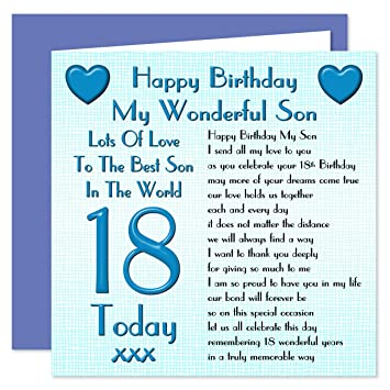 Son 18th Happy Birthday Card Lots Of Love To The Best Son In The