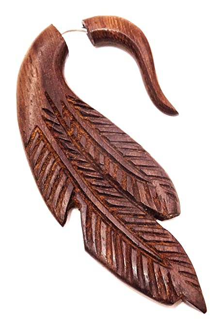 Falso Dilatador Piercing madera étnica pendiente de Gauge Expander ...