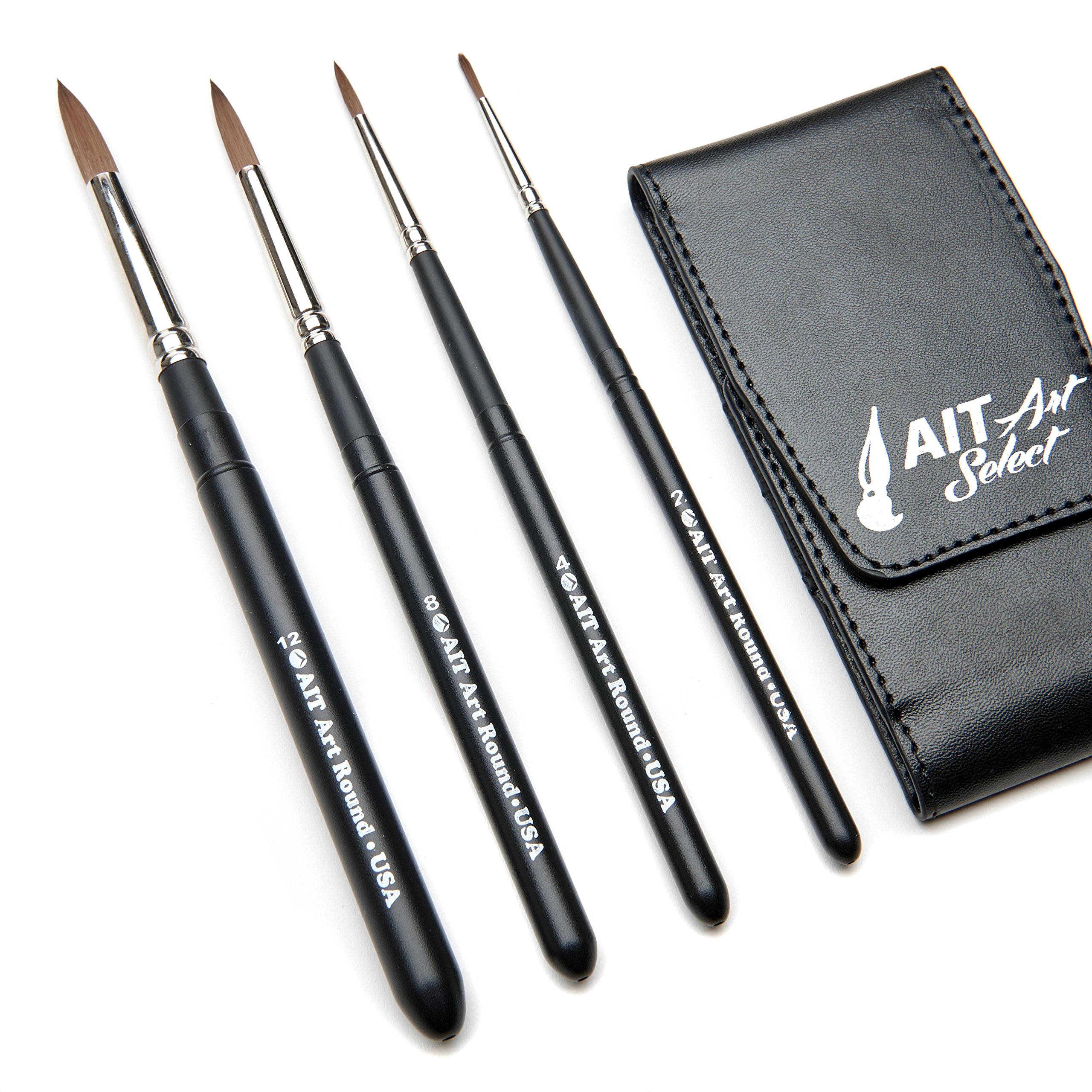 AIT Art Select Paint Brushes - Set of 4 Synthetic Sable Brushes - Handmade in USA - Compact Travel Set by AIT Products