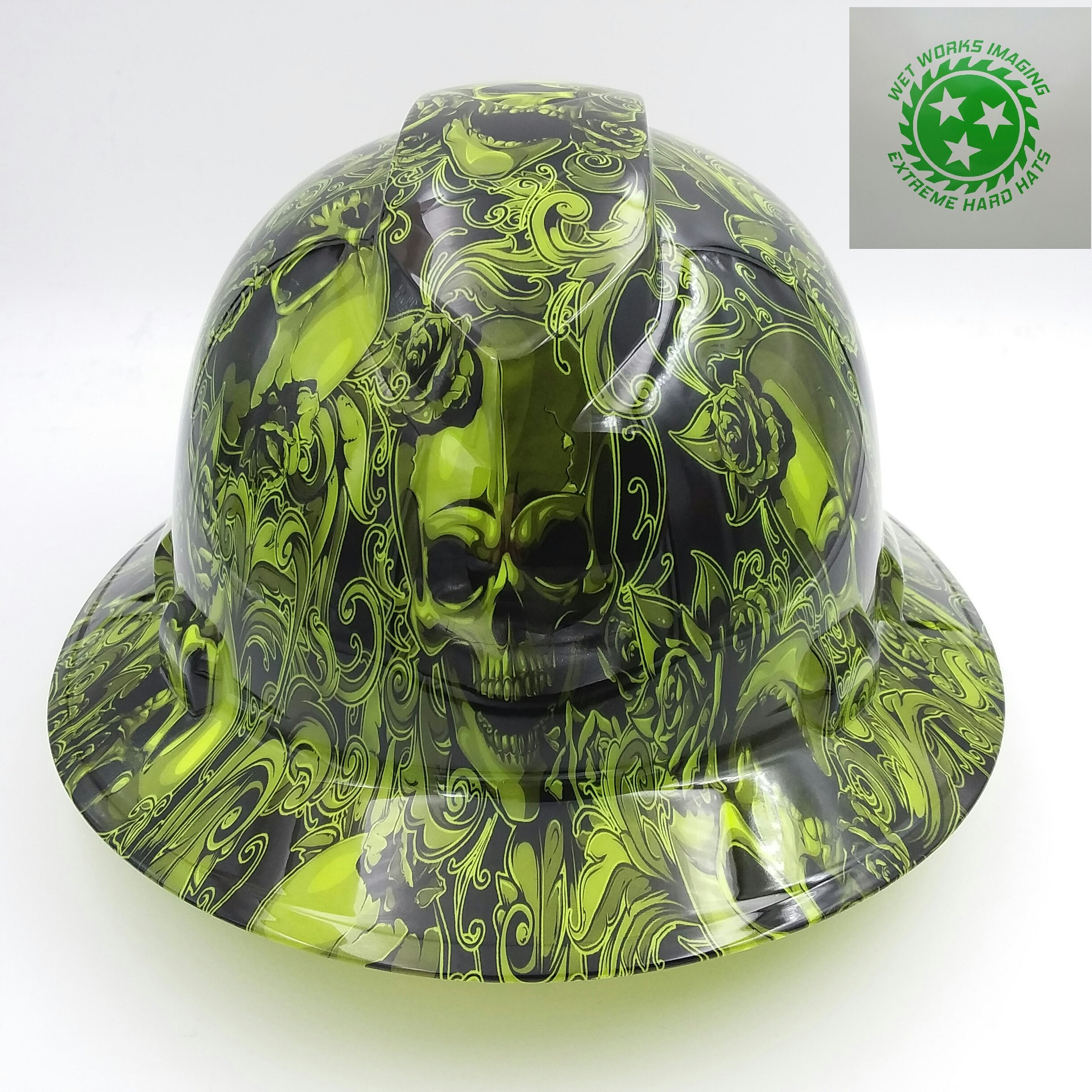 Wet Works Imaging Customized Pyramex Full Brim Green Skull And Roses Hard Hat With Ratcheting Suspension