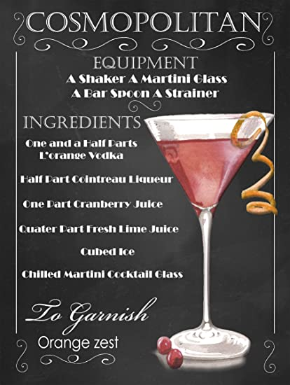 Cosmopolitan Cocktail Recipe Retro Metal Tin Wall Sign Gift Wall Amazon Co Uk Kitchen Home