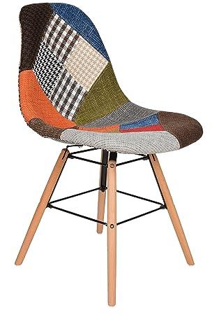 ts-ideen Silla diseño Patchwork Sala Oficina Asiento de Comedor Colorido Madera