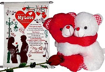 Buy Love Gifts Combo - Hug Red & White Teddy, Love Scroll Card ...