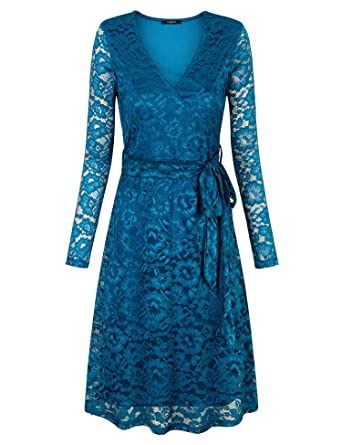 f3be836a8ebaa VALOLIA Women s Long Sleeve Vintage Lace Dress Cocktail Party Midi Dresses  with Lining Dark Cyan S