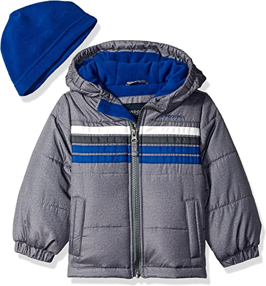 London Fog Boys Heavyweight Puffer Jacket with Beanie