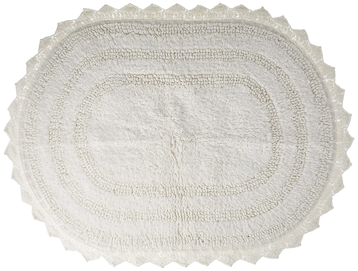 "DII Ultra Soft Spa Cotton Crochet Oval Bath Mat or Rug Place in Front of Shower, Vanity, Bath Tub, Sink, and Toilet, 21 x 34"" - White"