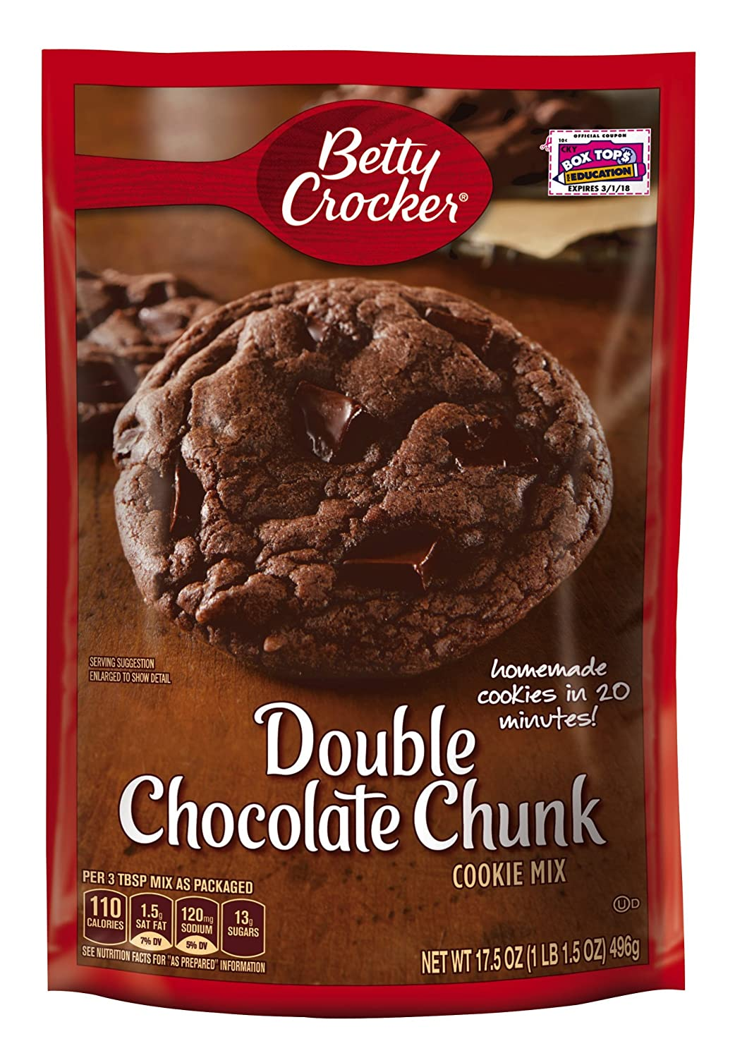 Amazon.com : Betty Crocker Cookie Mix Double Chocolate Chunk 17.5 ...