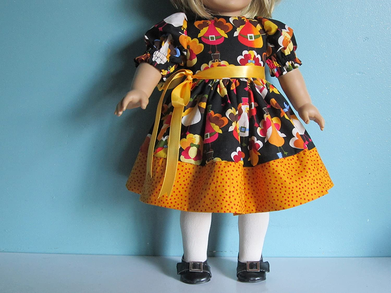 Colorful /& Fun!! Whimsical Thanksgiving Turkey Dress fits American Girl
