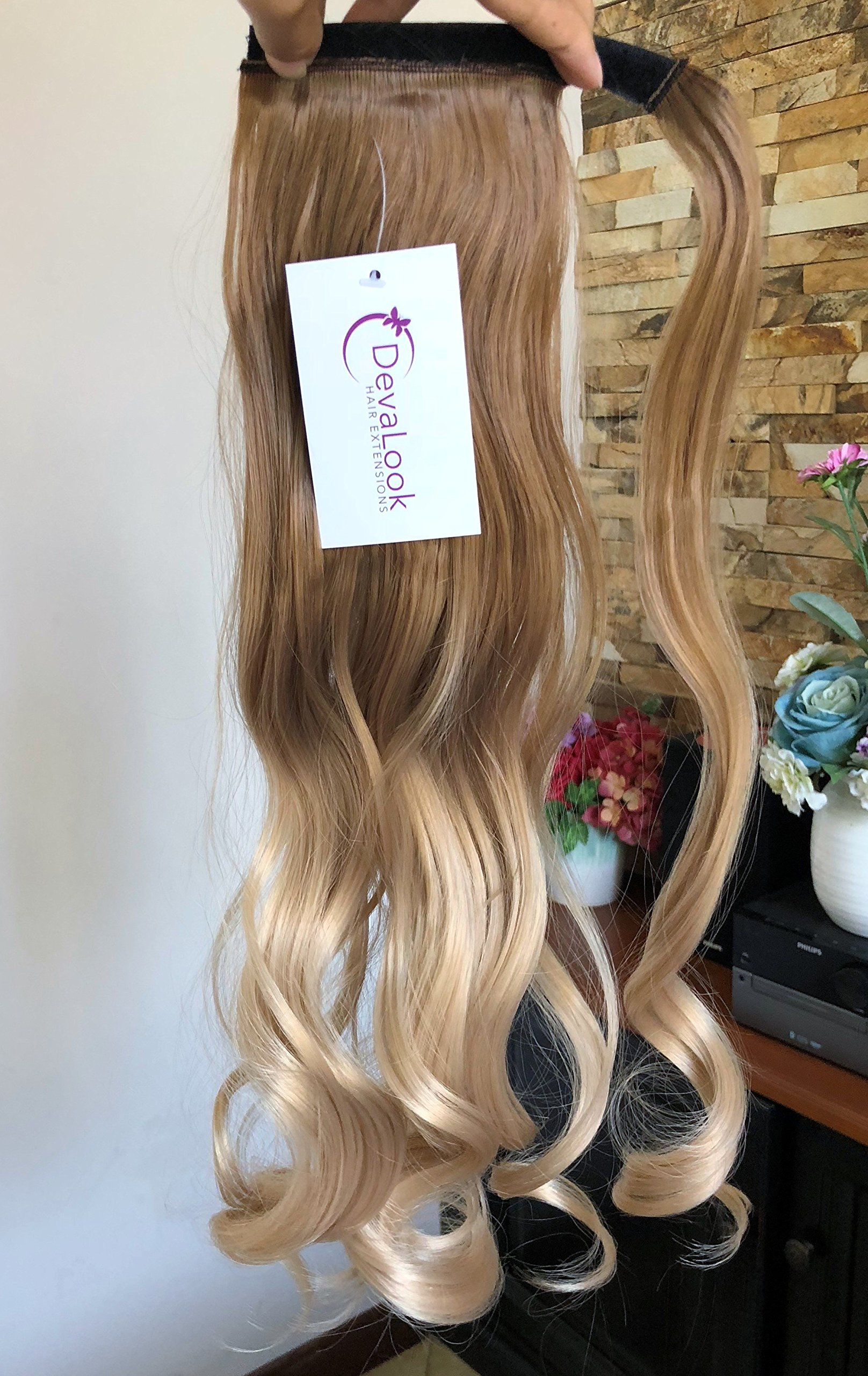 20'' Synthetic Wavy Curly Ombre Wrap Around Ponytail Clip in Hair Extensions Hairpieces (Wavy-light brown to sandy blonde)