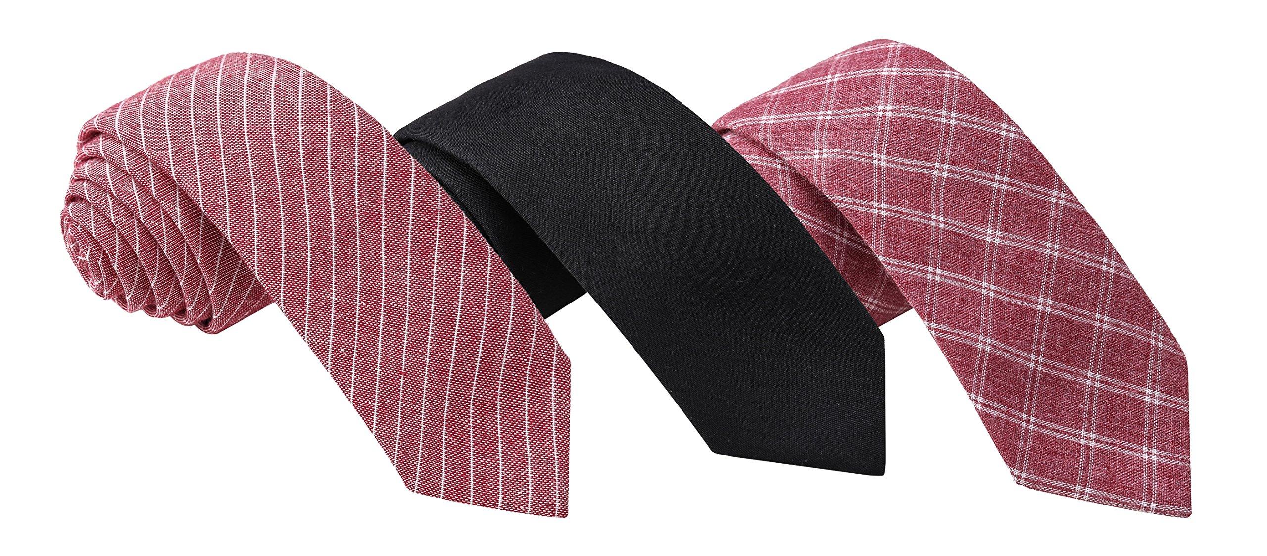 Skinny Tie Madness Black & Red Bundle of 3, 2'' Skinny Ties - Black skinny ties - red skinny ties - cotton skinny ties - skinny tie set