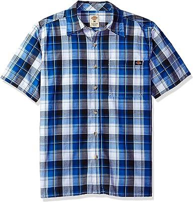 Dickies Camisa de Cuadros de Manga Corta para Hombre con Ajuste Relajado - Azul - Small: Amazon.es: Ropa y accesorios