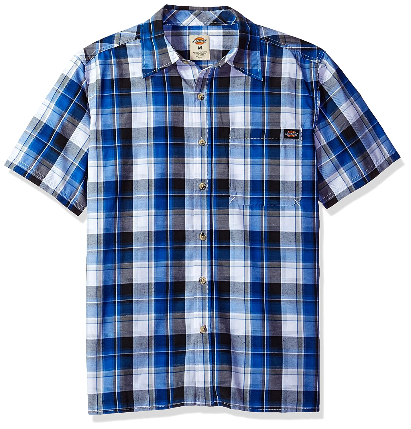 Dickies Mens Relaxed Fit Short Sleeve Square Bottom Plaid Shirt