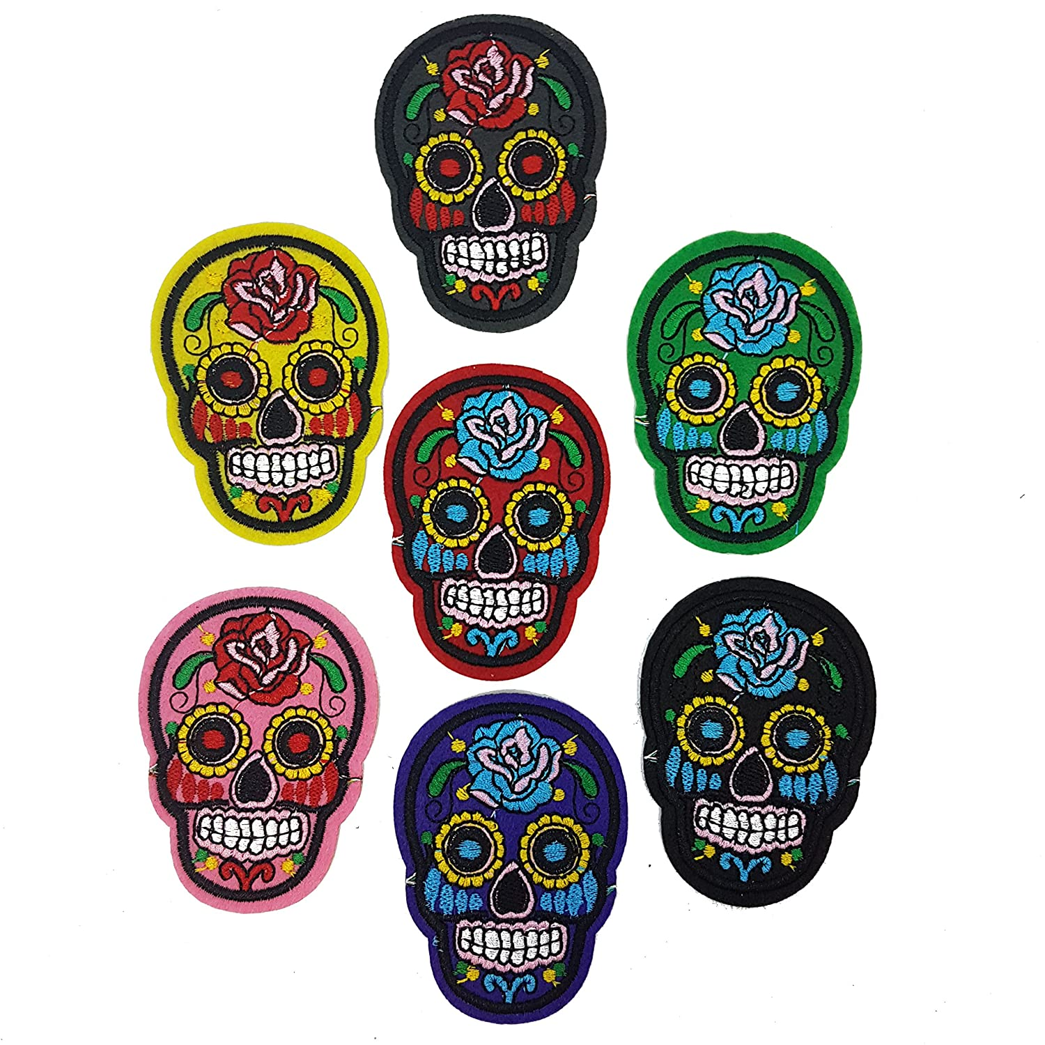 7 PCS Iron On Sew Sugar Skull Candy Mexican Patch Badge Day Of Dead Motif Appliqué Halloween By Accessories Attic®