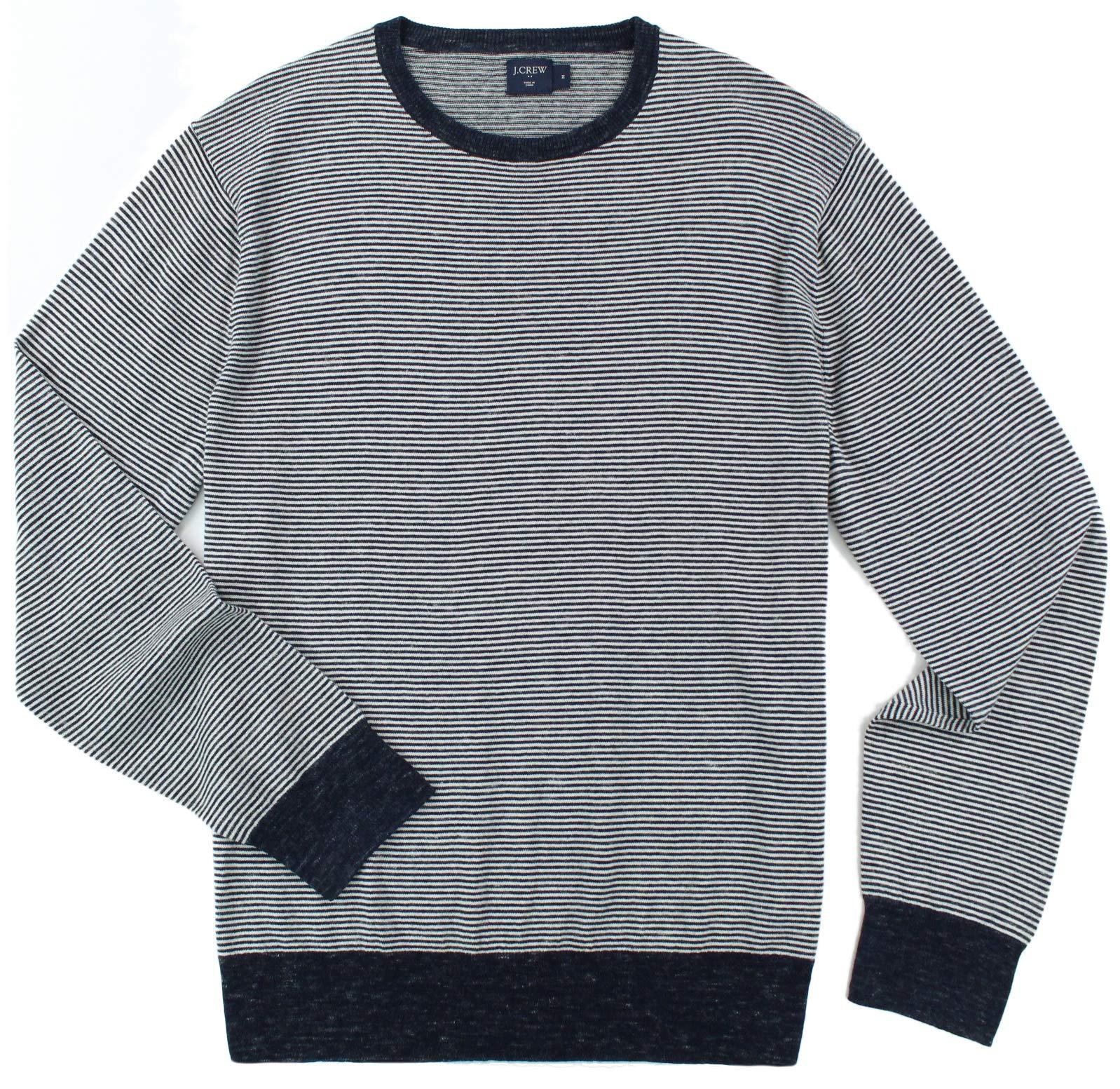 J. Crew - Men's - Cotton/Linen Crewneck Sweater (Multiple Color/Size Options) (Large, Indigo Stripe)