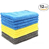 Premium Multipurpose Wash Cloth, Professional Microfiber Car Cleaning Towel, Ultra Soft Washcloths with High Absorbent Lint-Free Streak-Free for Car Home Kitchen Furniture 12 in. x 16 in.12-Pack