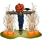 "Halloween Corn Stalks and Scarecrow Wall or Window Decor Decal 24"" x 20"""