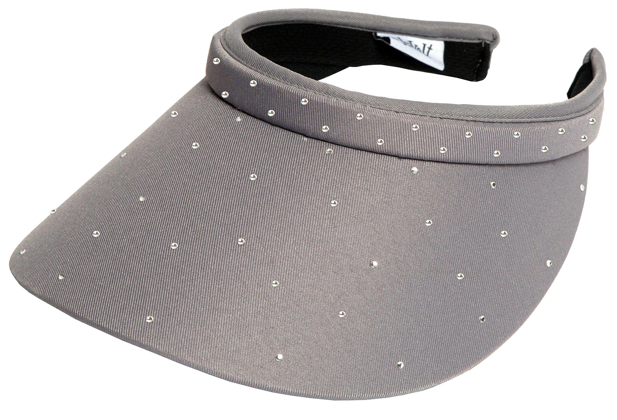 Glove It Women's Clip On Visor Golf & Tennis Head Visors for Women - UV 50 Protection - Ladies Sun Visor Hat - Large Wide Brim - Grey Bling