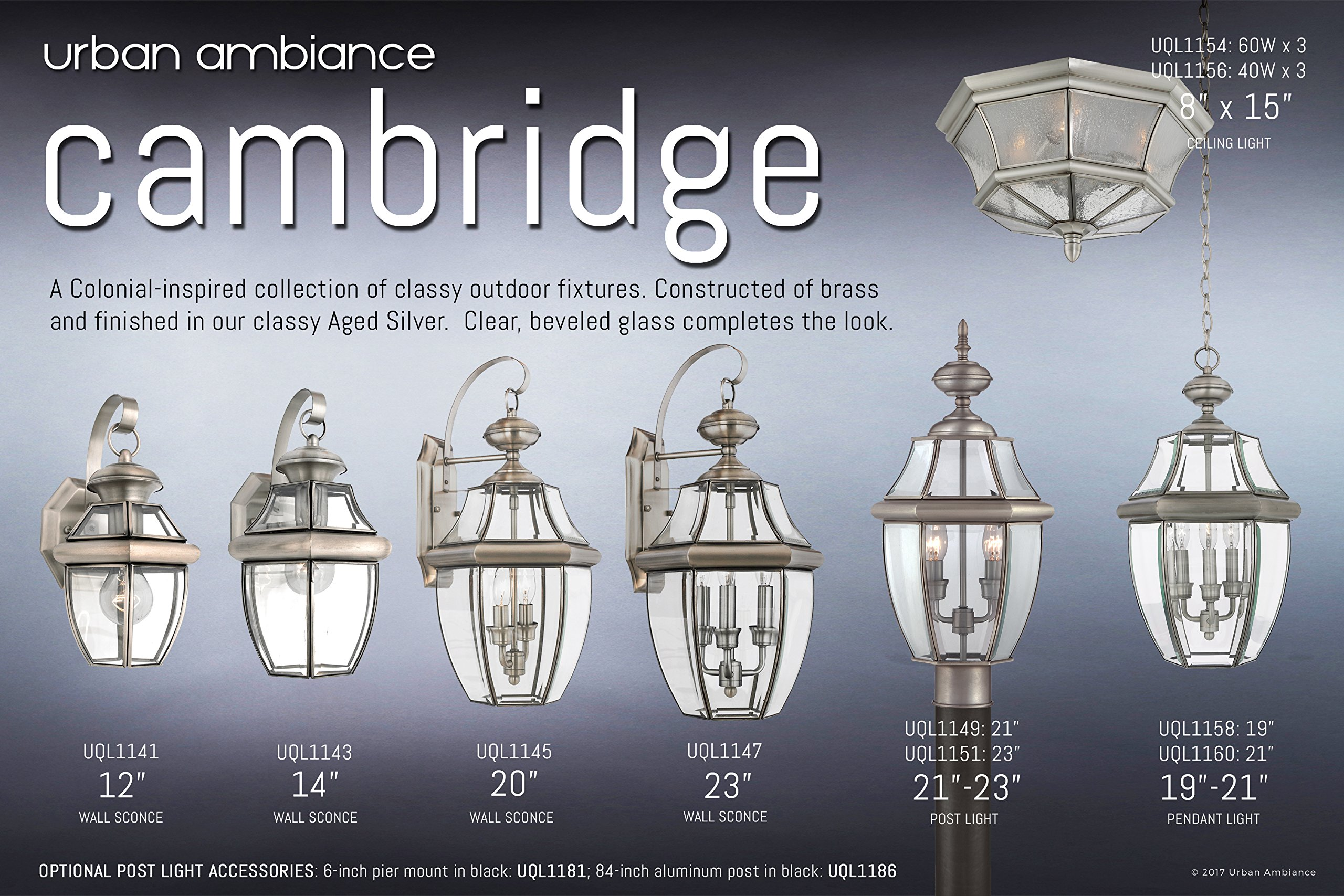 Luxury Colonial Outdoor Wall Light, Large Size: 20''H x 10.5''W, with Tudor Style Elements, Versatile Design, Classy Aged Silver Finish and Beveled Glass, UQL1145 by Urban Ambiance by Urban Ambiance (Image #1)