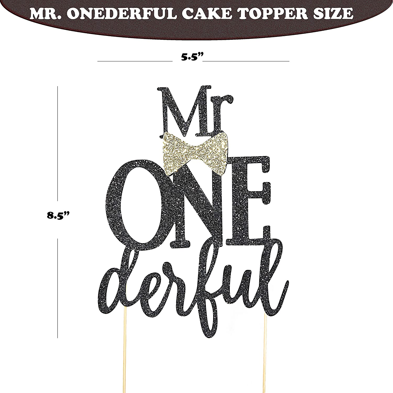 Mr Onederful Cake Topper For Birthday - Black Glitter Cake Topper Bow Tie First Birthday Boy Baby Shower Cake Smash Party, Photo Booth Props, Glitter ...