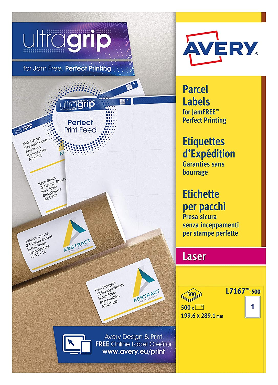 Etichette per indirizzo 500 pezzi per stampante laser colore: Bianco 1 per foglio 199,6 x 289,1 mm Avery L7167-500