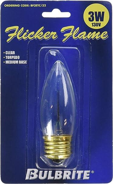 Bulbrite F3CFC//32 Flicker 3W Flame Tip Chandelier Bulb Candelabra Base CA10