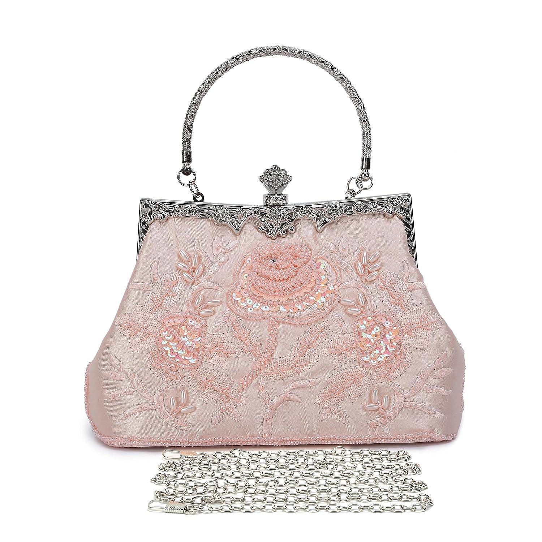 4e304913355a2 Mufly Women Evening Clutch Purse Vintage Style Stain Fabric Roses Beaded Handbag  Party Bridal Evening: Handbags: Amazon.com