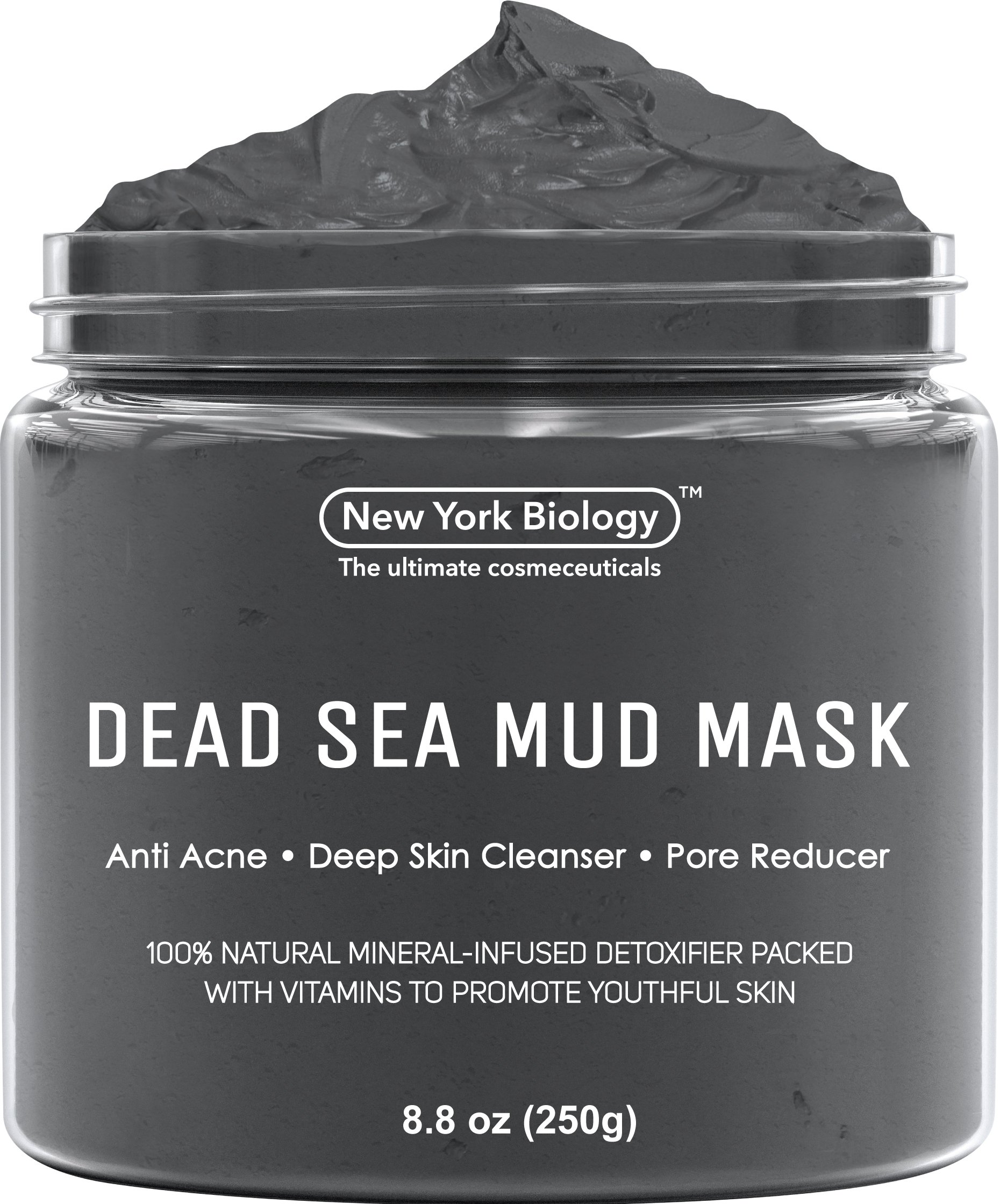 New York Biology Dead Sea Mud Mask for Face and Body - All Natural - Spa Quality Pore Reducer for Acne, Blackheads and Oily Skin - Tightens Skin for A Healthier Complexion - 8.8 oz by New York Biology