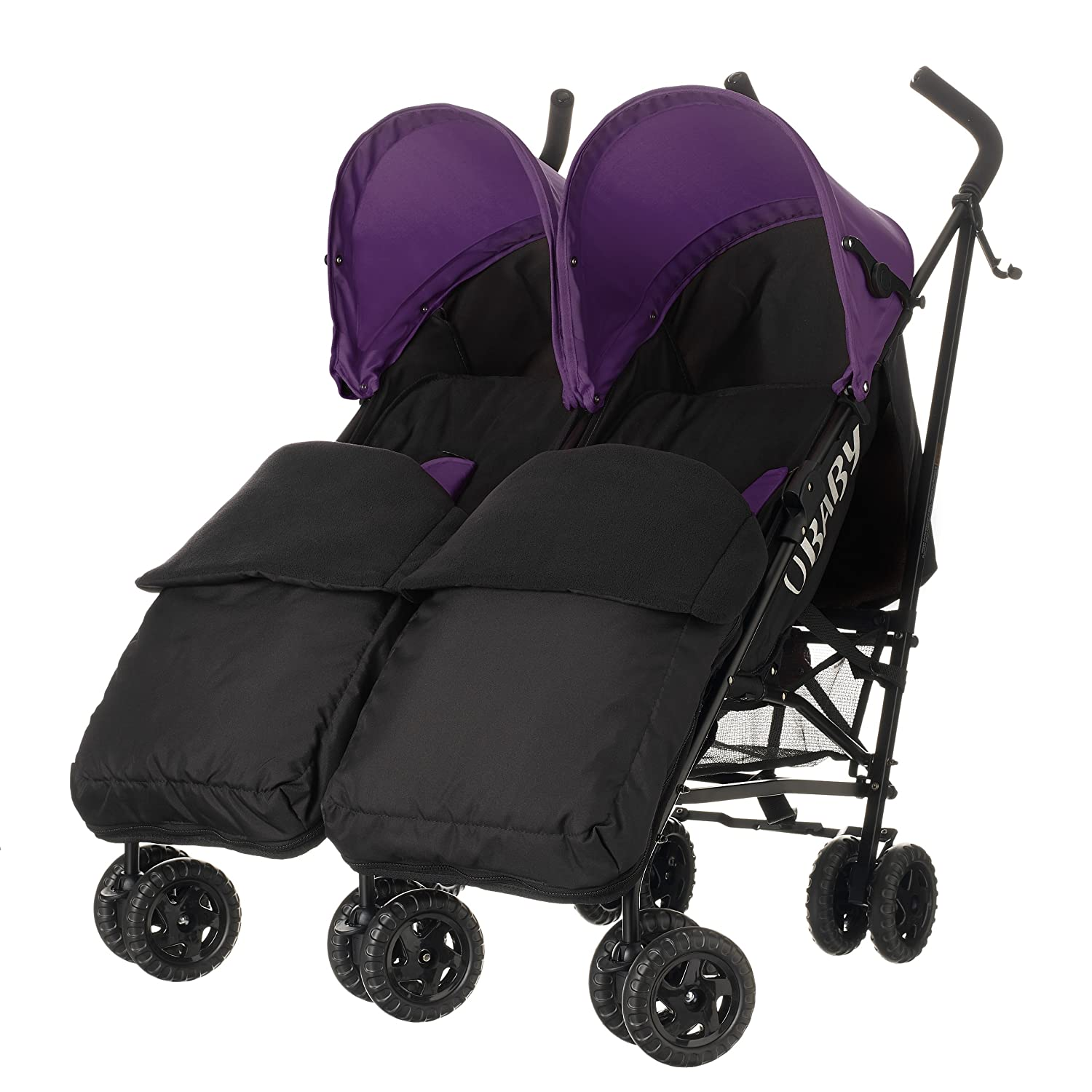 Obaby Apollo Black/Grey Twin Stroller and Black Footmuffs (Purple) 13OB0717FM04