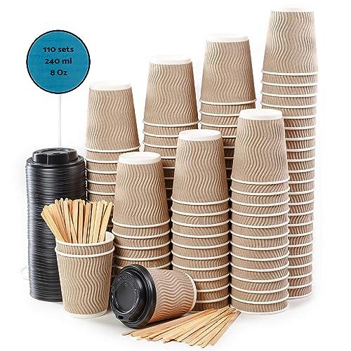110 Kraft Ondulation Double Paroi Gobelets Carton pour Café à Emporter - Tasse Café 240ml avec Couvercles et Agitateurs en Bois pour Servir Le Café, Le Thé, des Boissons Chaudes et Froides