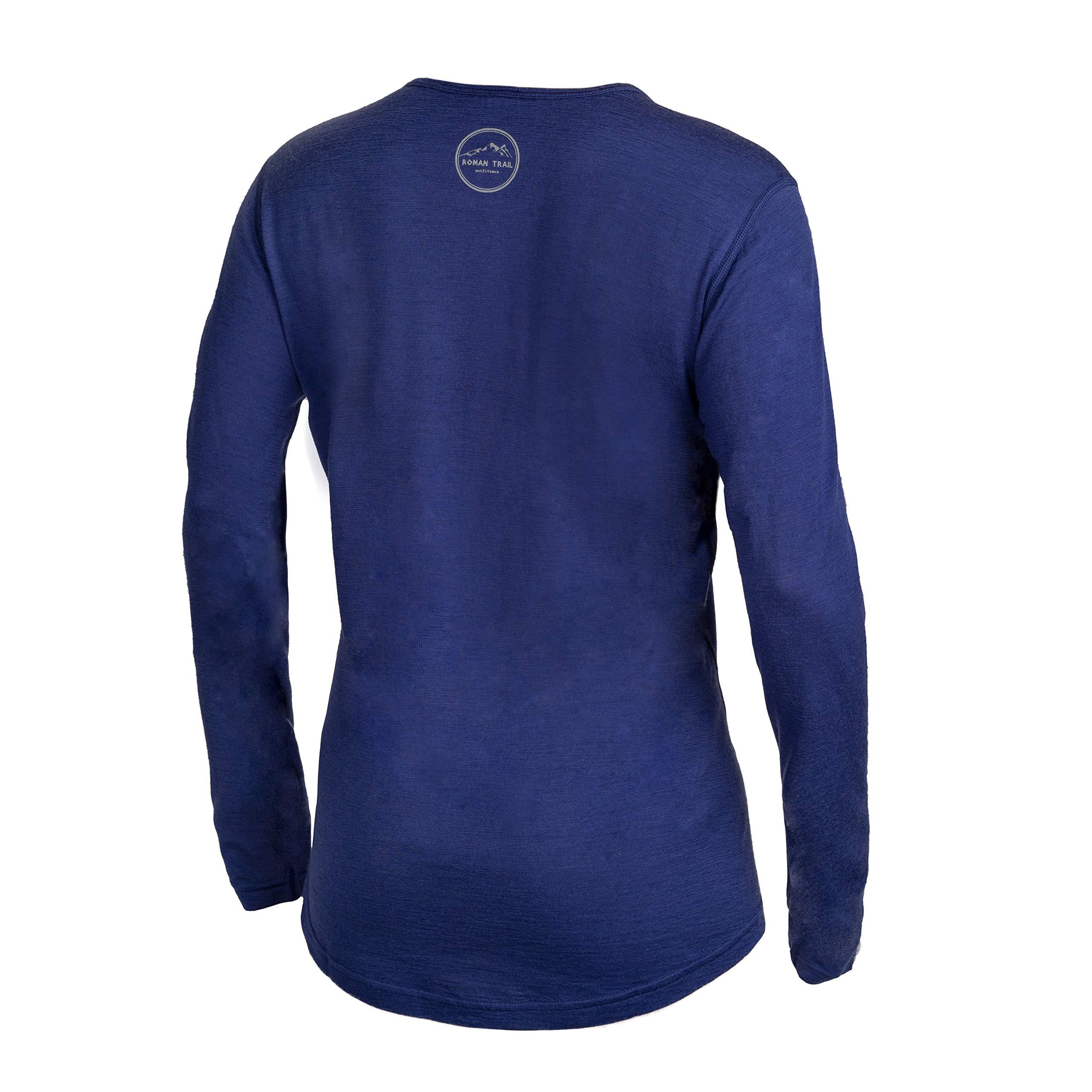 Western Owl Outfitters Merino Wool Women's Long Sleeve Top |Crew Neck Shirt | Lightweight | Moisture Wicking | Base Layer (Small, Navy)