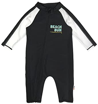 7035705d2b848 SwimZip Little Boy Long Sleeve Sunsuit with UPF 50 Sun Protection Beach Bum  Black 2T