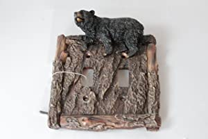 Black Bear Switch Plate Covers Electric Outlet Cover Faux Wood Look Cabin Decor (Double Switch)