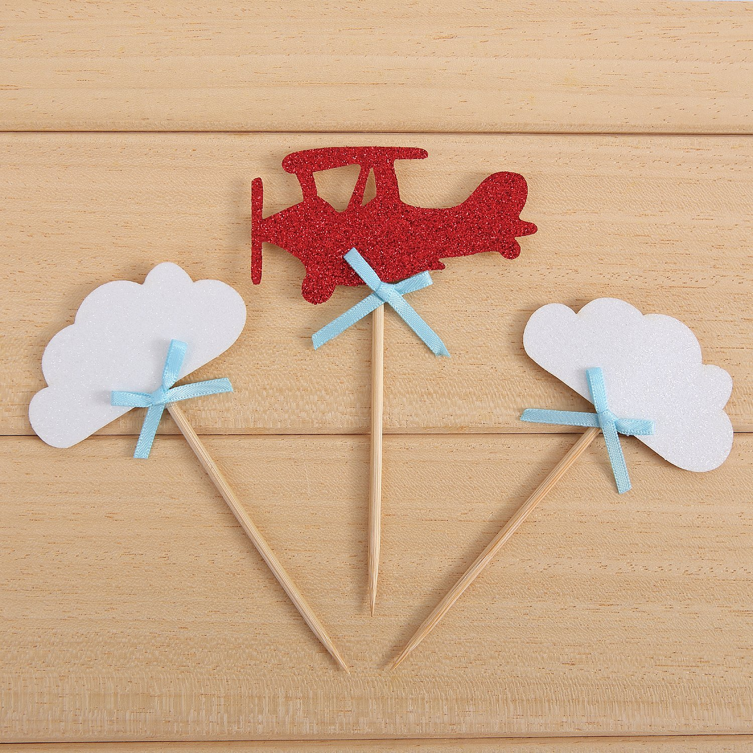24 Pack Cloud and Airplane Cupcake Toppers Up Up Kids' Party Decors - by Giuffi