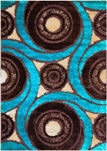Royal Collection Turquoise Blue Brown Contemporary Design Shaggy Area Rug 6066 3 3 x5