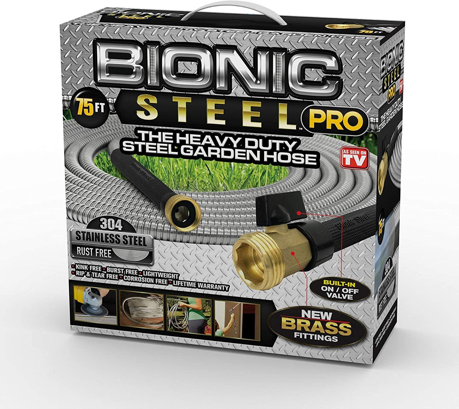 Bionic Steel PRO Garden Hose - 304 Stainless Steel Metal 75 Foot Garden Hose – Heavy Duty Lightweight, Kink-Free, and Stronger Than Ever with Brass Fittings and On/Off Valve – 2019 Model