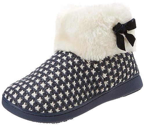 Isotoner Knit Boot Faux Fur Cuff Slipper, Zapatillas de Estar por casa para Mujer: Amazon.es: Zapatos y complementos