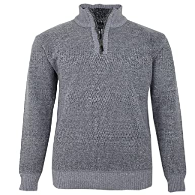 6b64780bdb1572 Charles Norton Mens Big Size Half Zip Knitted Sweater Check Fleece Lined  Jumper  Amazon.co.uk  Clothing